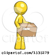 Yellow Design Mascot Man Holding Package To Send Or Recieve In Mail