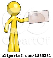 March 16th, 2018: Yellow Design Mascot Man Holding Large Envelope by Leo Blanchette