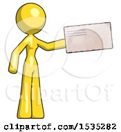 March 16th, 2018: Yellow Design Mascot Woman Holding Large Envelope by Leo Blanchette