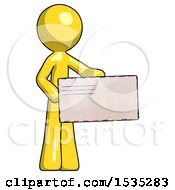 March 17th, 2018: Yellow Design Mascot Man Presenting Large Envelope by Leo Blanchette