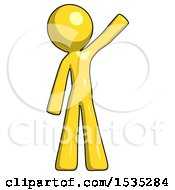 March 17th, 2018: Yellow Design Mascot Man Waving Emphatically With Left Arm by Leo Blanchette