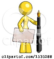 Yellow Design Mascot Woman Holding Large Envelope And Calligraphy Pen