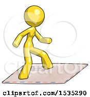 Yellow Design Mascot Woman On Postage Envelope Surfing