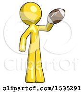 Yellow Design Mascot Man Holding Football Up