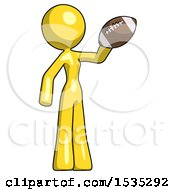 Yellow Design Mascot Woman Holding Football Up