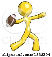 Yellow Design Mascot Woman Throwing Football