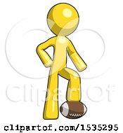 Yellow Design Mascot Man Standing With Foot On Football