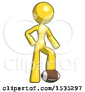 Yellow Design Mascot Woman Standing With Foot On Football