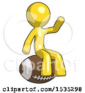 Yellow Design Mascot Man Sitting On Giant Football