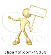 Gold Person Standing And Holding Up A Blank Sign For An Advertisement