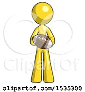 Yellow Design Mascot Woman Giving Football To You