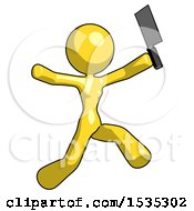 Yellow Design Mascot Woman Psycho Running With Meat Cleaver
