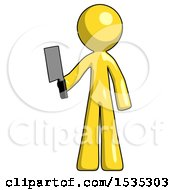 Yellow Design Mascot Man Holding Meat Cleaver