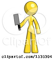 Yellow Design Mascot Woman Holding Meat Cleaver