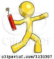 Yellow Design Mascot Man Throwing Dynamite