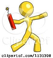 Yellow Design Mascot Woman Throwing Dynamite