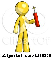 Yellow Design Mascot Man Holding Dynamite With Fuse Lit