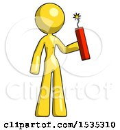 Yellow Design Mascot Woman Holding Dynamite With Fuse Lit