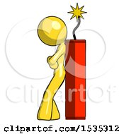 Yellow Design Mascot Woman Leaning Against Dynimate Large Stick Ready To Blow
