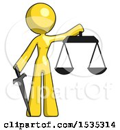 Yellow Design Mascot Woman Justice Concept With Scales And Sword Justicia Derived