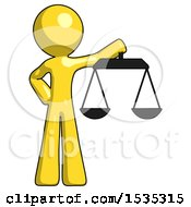 Yellow Design Mascot Man Holding Scales Of Justice