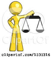 Yellow Design Mascot Woman Holding Scales Of Justice