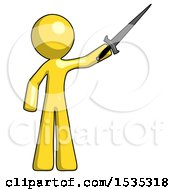 March 17th, 2018: Yellow Design Mascot Man Holding Sword In The Air Victoriously by Leo Blanchette
