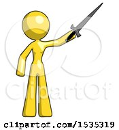 March 17th, 2018: Yellow Design Mascot Woman Holding Sword In The Air Victoriously by Leo Blanchette
