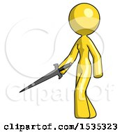 March 17th, 2018: Yellow Design Mascot Woman With Sword Walking Confidently by Leo Blanchette