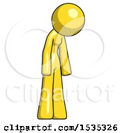 March 17th, 2018: Yellow Design Mascot Woman Depressed With Head Down Turned Right by Leo Blanchette