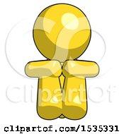 Yellow Design Mascot Man Sitting With Head Down Facing Forward