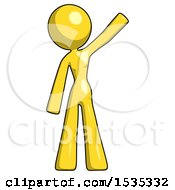 March 17th, 2018: Yellow Design Mascot Woman Waving Emphatically With Left Arm by Leo Blanchette