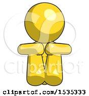 Yellow Design Mascot Woman Sitting With Head Down Facing Forward