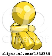 Yellow Design Mascot Woman Sitting With Head Down Facing Angle Right