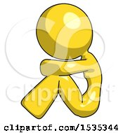 Yellow Design Mascot Woman Sitting With Head Down Facing Sideways Left