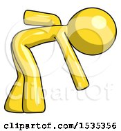 Yellow Design Mascot Man Picking Something Up Bent Over