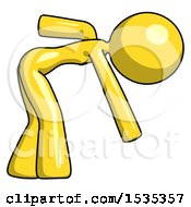 Yellow Design Mascot Woman Bent Over Picking Something Up