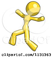 Yellow Design Mascot Woman Running Away In Hysterical Panic Direction Left