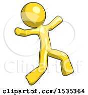 Yellow Design Mascot Man Running Away In Hysterical Panic Direction Right