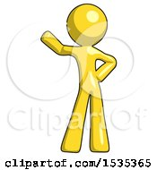 March 17th, 2018: Yellow Design Mascot Man Waving Right Arm With Hand On Hip by Leo Blanchette