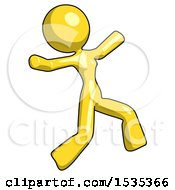 Yellow Design Mascot Woman Running Away In Hysterical Panic Direction Right