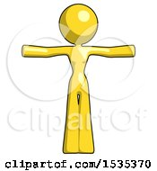 March 17th, 2018: Yellow Design Mascot Woman T Pose Arms Up Standing by Leo Blanchette