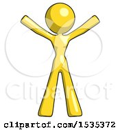 March 17th, 2018: Yellow Design Mascot Woman Surprise Pose Arms And Legs Out by Leo Blanchette