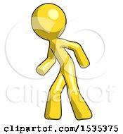 Yellow Design Mascot Man Suspense Action Pose Facing Left