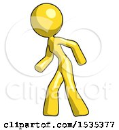 Yellow Design Mascot Woman Suspenseaction Pose Facing Left