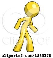 Yellow Design Mascot Man Suspense Action Pose Facing Right