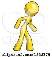 Yellow Design Mascot Woman Suspense Action Pose Facing Right