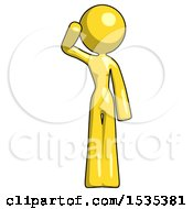 Yellow Design Mascot Woman Soldier Salute Pose