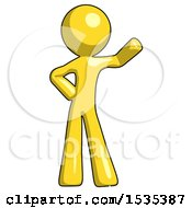 March 17th, 2018: Yellow Design Mascot Man Waving Left Arm With Hand On Hip by Leo Blanchette