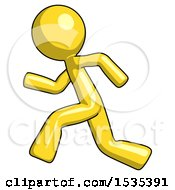 March 16th, 2018: Yellow Design Mascot Man Running Fast Left by Leo Blanchette